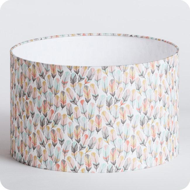 abat-jour-cylindrique-luminaire-suspension-lampe-tissu-motif-plume-scandinave-rose-pastel-envol